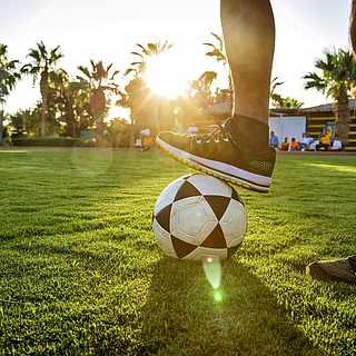 Spieler mit Fußball unterm Fuß auf gepflegtem rasen mit Palmen